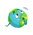 funny earth planet character looking at flying vector image vector image