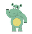 funny hippo isolated on white background vector image