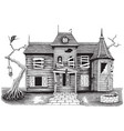 ghost house hand drawing vintage style isolate on vector image