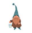 gnome with bucket garden hand drawn cartoon vector image vector image