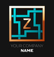 golden letter z logo symbol in the square maze vector image