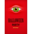 Halloween Party Invitation with monster eye vector image