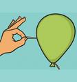 hand and needle pierces balloon pop art design vector image vector image