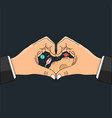 hand business shaped heart love space vector image