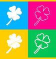 leaf clover sign four styles of icon on four vector image vector image