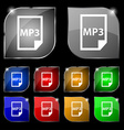 mp3 icon sign Set of ten colorful buttons with vector image vector image