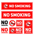 no smoking labels set on a white background vector image