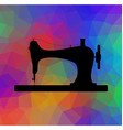 Old sewing machine on triangular background with vector image