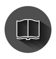 open book icon in flat style literature on black vector image vector image