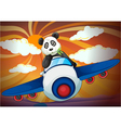 panda flying in air plane vector image vector image