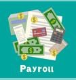 payroll invoice sheet flat payroll vector image