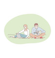 picnic relaxing resting in park with book and vector image