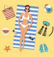 pretty girl is lying on beach vector image vector image