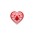 red heart icon shape with water drop inside vector image