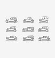 retro cars icon set transport transportation vector image vector image