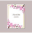 save date floral card with sakura flowers vector image vector image