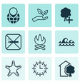 set of 9 ecology icons includes cigarette pin vector image vector image
