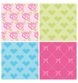Set of Backgrounds - Stitch Roses and Hearts vector image vector image