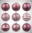 Set of realistic pink christmas balls vector image vector image