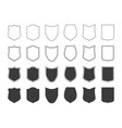 shields badge icon set outline shield label vector image