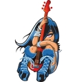Shy Girl With Guitar vector image vector image