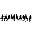 silhouette sitting girls set vector image vector image