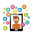 smartphone man social media application vector image