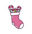 sock with candy canes leaves decoration merry vector image