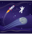 space and astronaut with ship vector image vector image