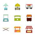 street kiosk icon set flat style vector image vector image