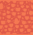 tea cup silhouettes seamless pattern orange vector image