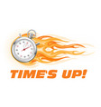 times up hurry up - burning stopwatch icon hot vector image vector image