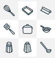 utensil icons line style set with baking sheet vector image vector image