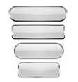 white glass 3d buttons with chrome frame oval vector image vector image