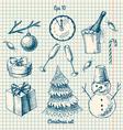 winter - doodles set vector image