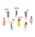 women protesters feminism activists fight vector image