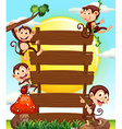 Wooden sign and four monkeys vector image vector image