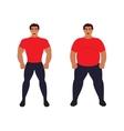 Fat vs slim man Healthy Sport athletic body vector image
