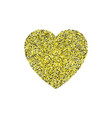 gold glitter heart sign sparkles isolated on white vector image