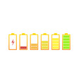 battery icon battery fuel and empty set vector image vector image