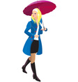 Beautiful blond girl with umbrella vector image