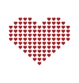 Big red heart consisting of small hearts vector image vector image