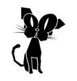 black icon funny cat vector image