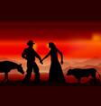 bull family dispute vector image vector image