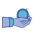 businessman hand with coin cash money vector image vector image