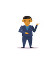cartoon asian business man in suit gesturing vector image