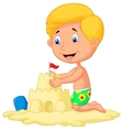 Cartoon boy making sand castle vector image vector image