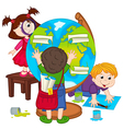 children make globe vector image vector image