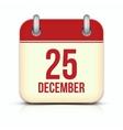 Christmas Day Calendar Icon 25 December vector image vector image