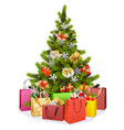 christmas tree with shopping bags vector image vector image
